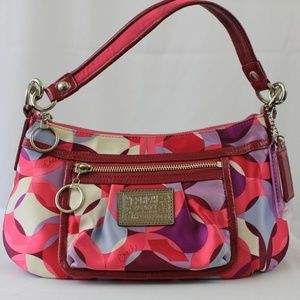 Coach Heart Poppy Shoulder Fabric & Leather Bag